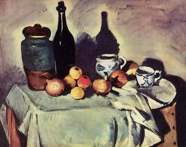 Cezanne-StillLife-PostBottleCupandFruit