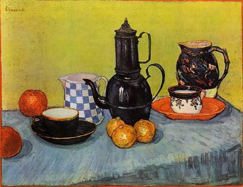 Gogh-StillLifeBlueEnamelCoffeepotEarthenwareandFruit