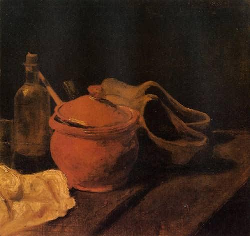 Gogh-StillLifewithEarthenwareBottleandClogs