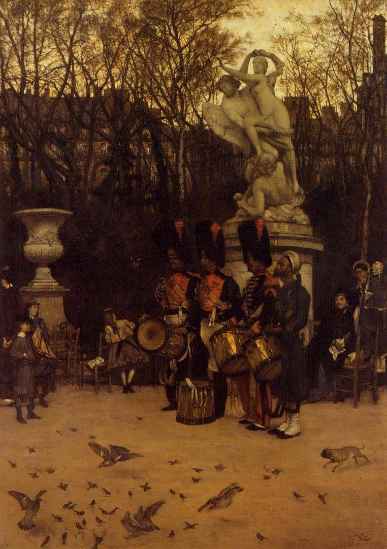 JamesTissot-BeatingtheRetreatintheTuilleriesGardens