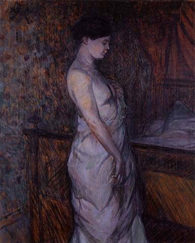 Lautrec-WomaninaChemiseStandingbyaBedakaMadamePoupoule
