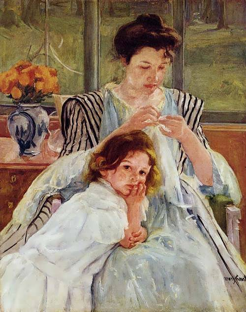 MaryCassatt-YoungMotherSewing