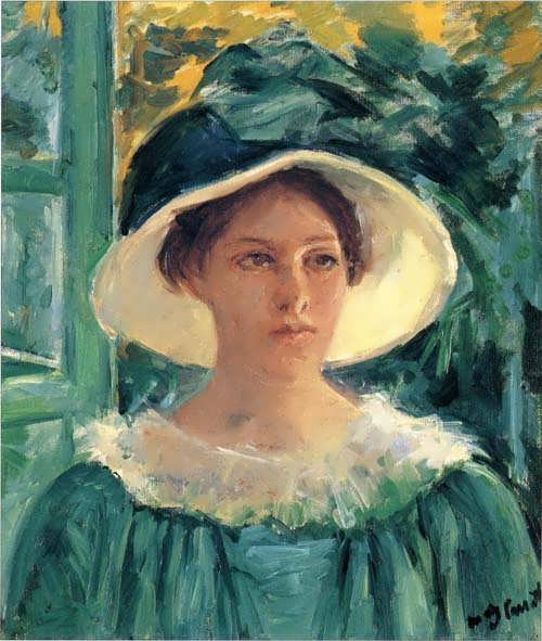 MaryCassatt-YoungWomaninGreenOutdoorsintheSun