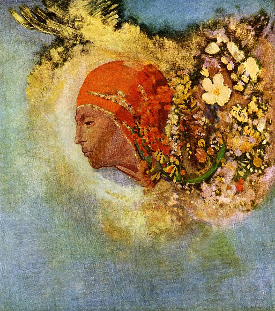 Head with flowers odilon redon for Www painting com