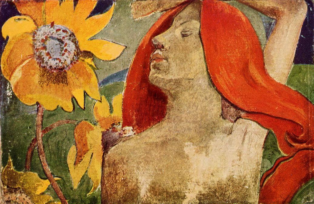 PaulGauguin-RedheadedWomanandSunflowers1