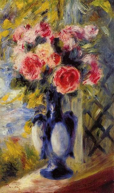 Renoir-BouquetofRosesinaBlueVase