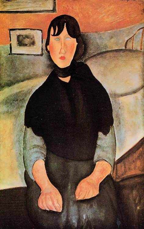 Modigliani-DarkYoungWomanSeatedbyaBed